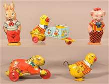 Five J Chein  Co Tin Lithograph Windup Toys