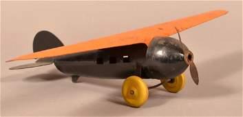 Vintage Sheet Metal Airplane Toy