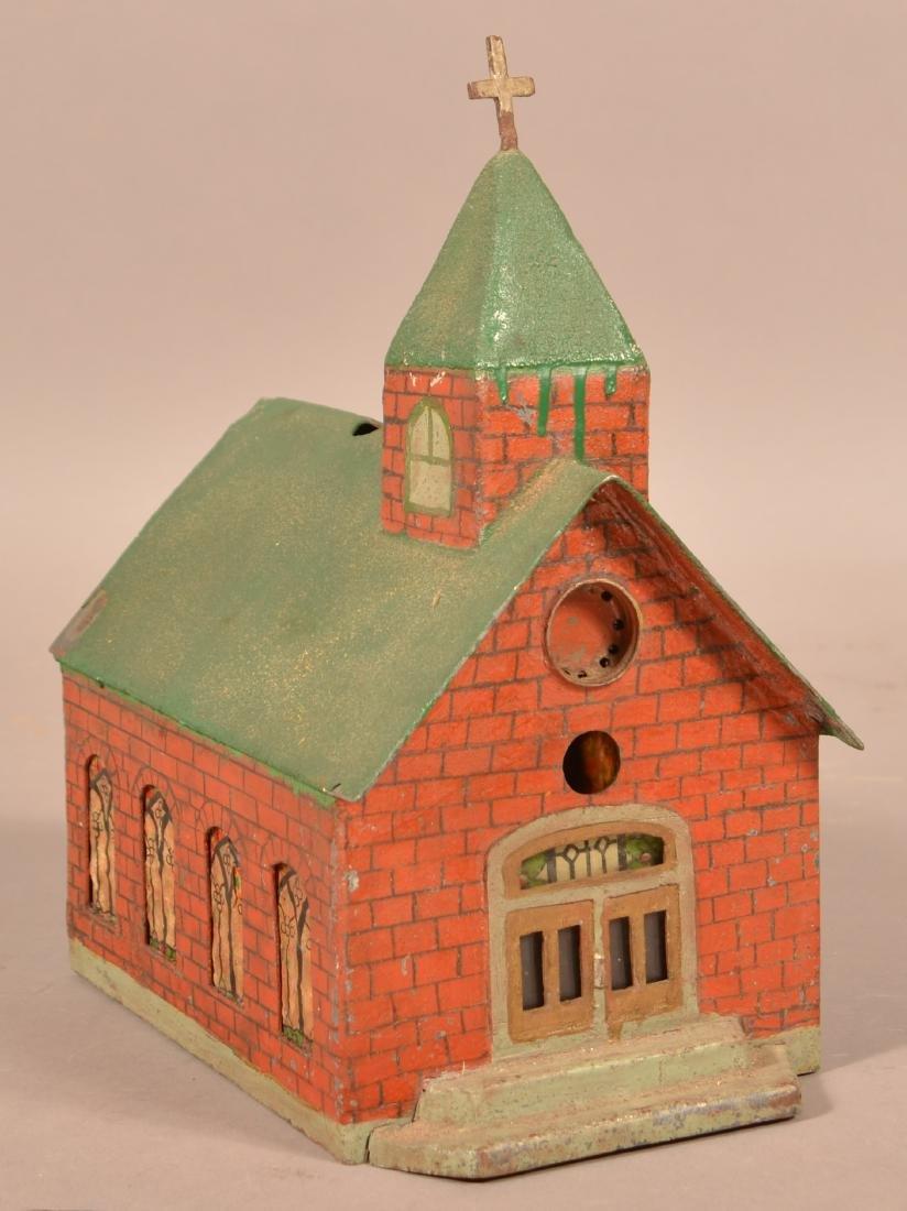 Antique Painted Sheet Metal Church Building.