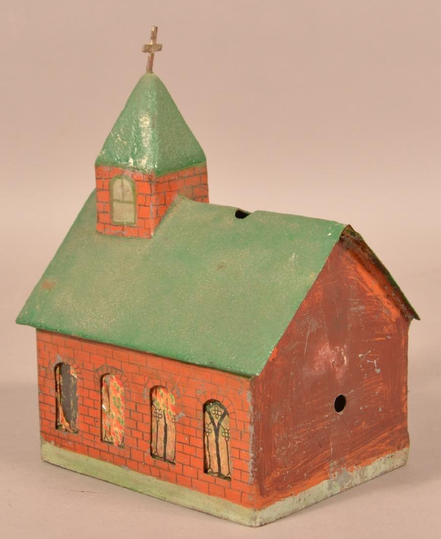 Antique Painted Sheet Metal Church Building. - 3