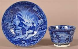Historical Staffordshire Blue Transfer Cup and Saucer