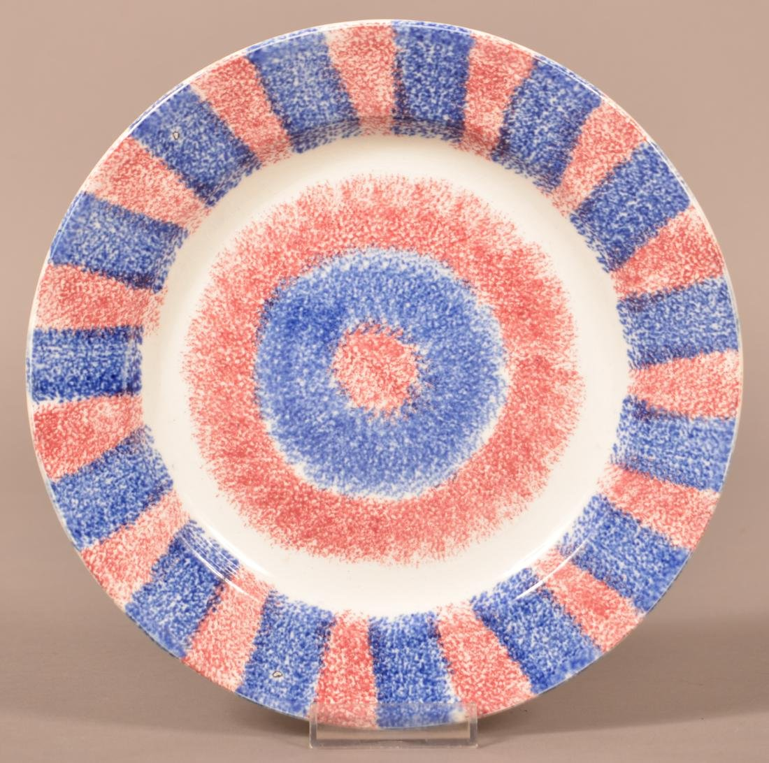 Red and Blue Rainbow Spatter Plate - Bulls Eye Center.