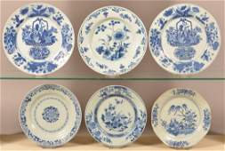 Six 18th/19th Century Oriental Blue and White Plates.