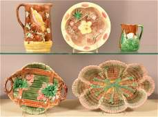 Five Pieces of Antique Majolica Pottery.