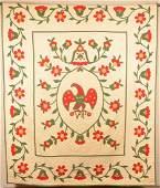 Vintage Floral Pattern Applique Quilt.