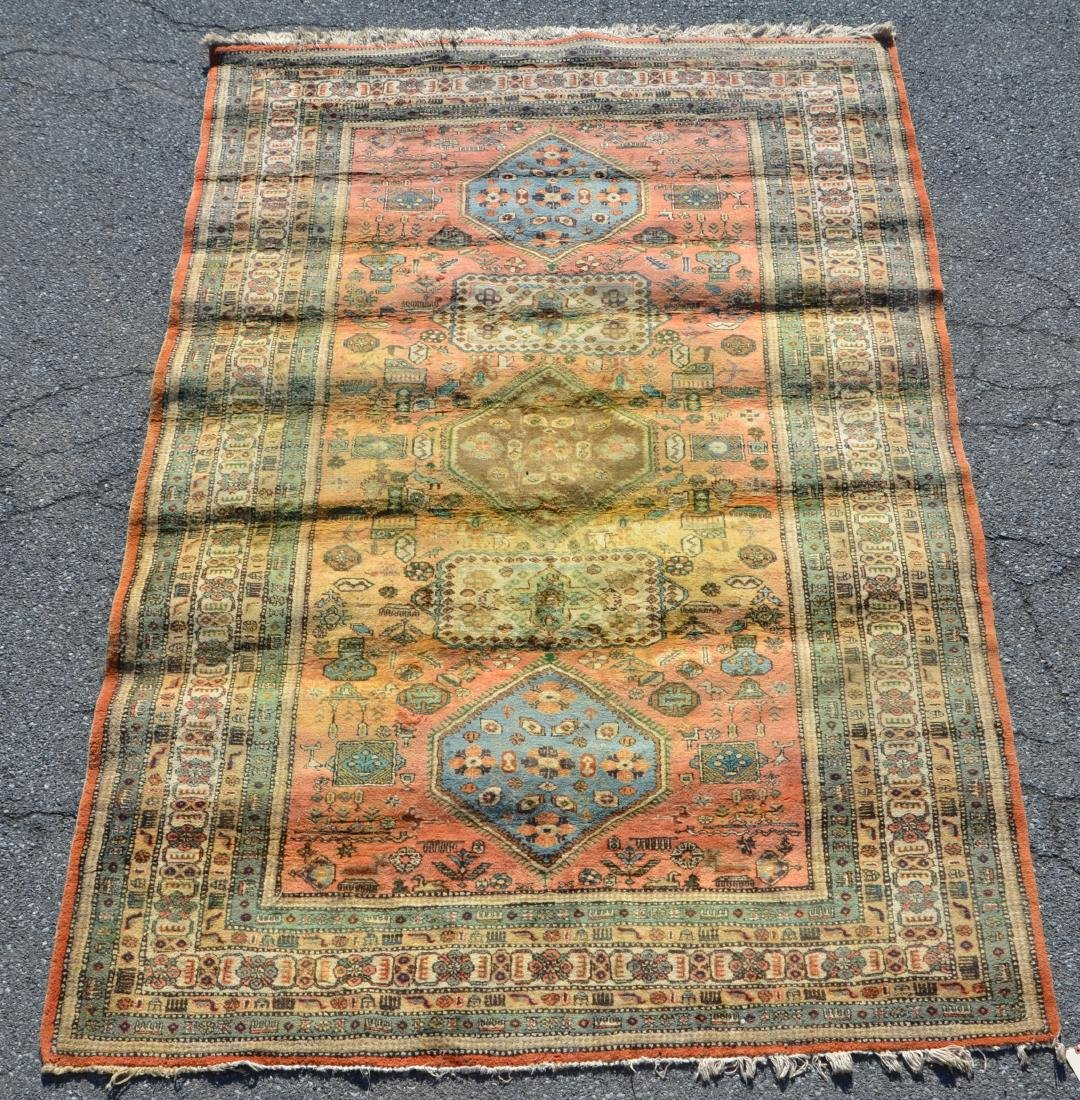 Antique/Vintage Geometric Pattern Oriental Area Rug.