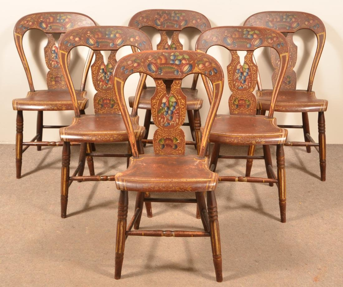 Set of Five Pennsylvania Balloon Back Side Chairs.