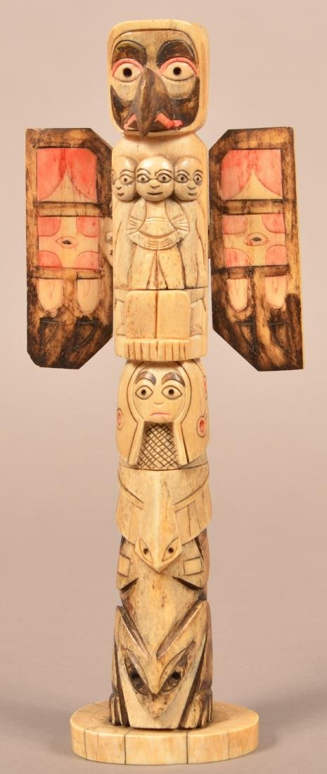 Antique N W Coast Indian Carved Bone Totem Pole 10 1 2 Oct 20 2018 Conestoga Auction Company Division Of Hess Auction Group In Pa