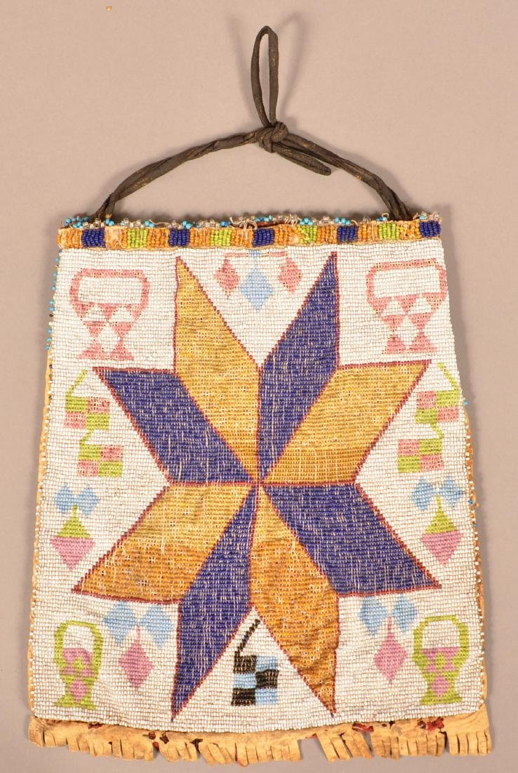 "Antique Great Lakes Indian Loom Woven Bag 9"" x 8"""