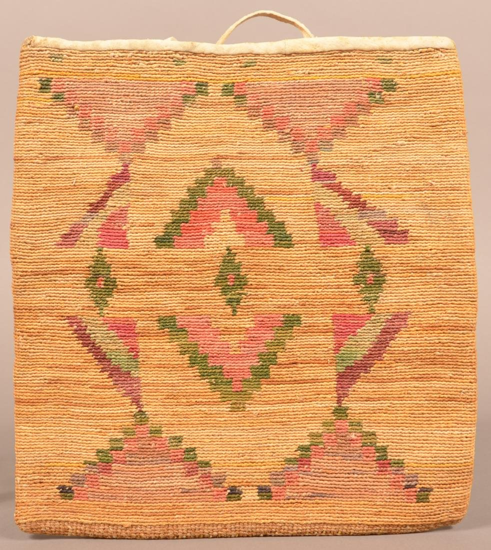"Antique Nez Perce Woven Corn Husk Bag 13"" x 12"""