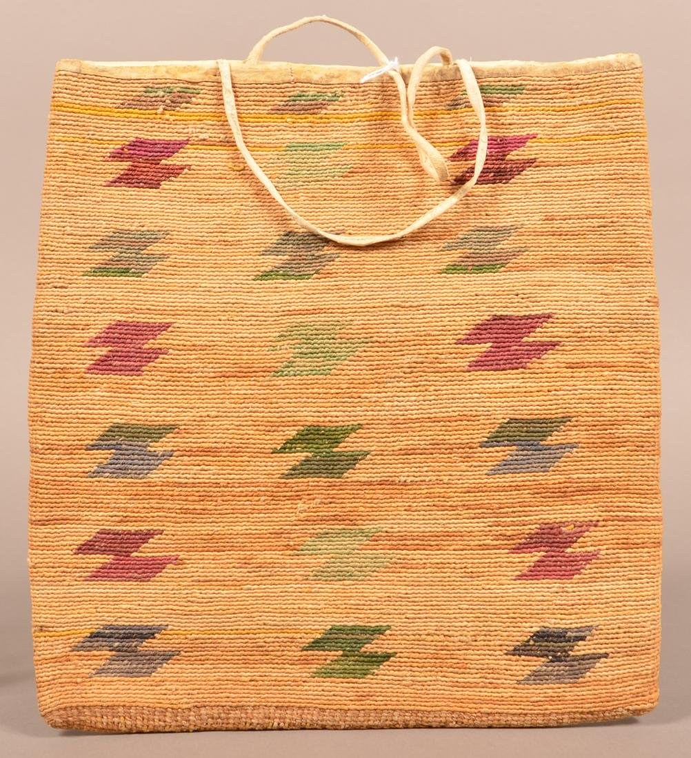 "Antique Nez Perce Woven Corn Husk Bag 13"" x 12"" - 2"