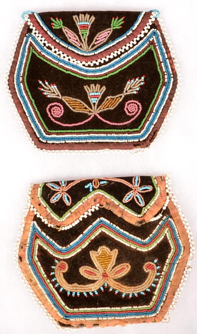 2 Mid 19th Cent. Iroquois Beaded Purses, One w/ Minor