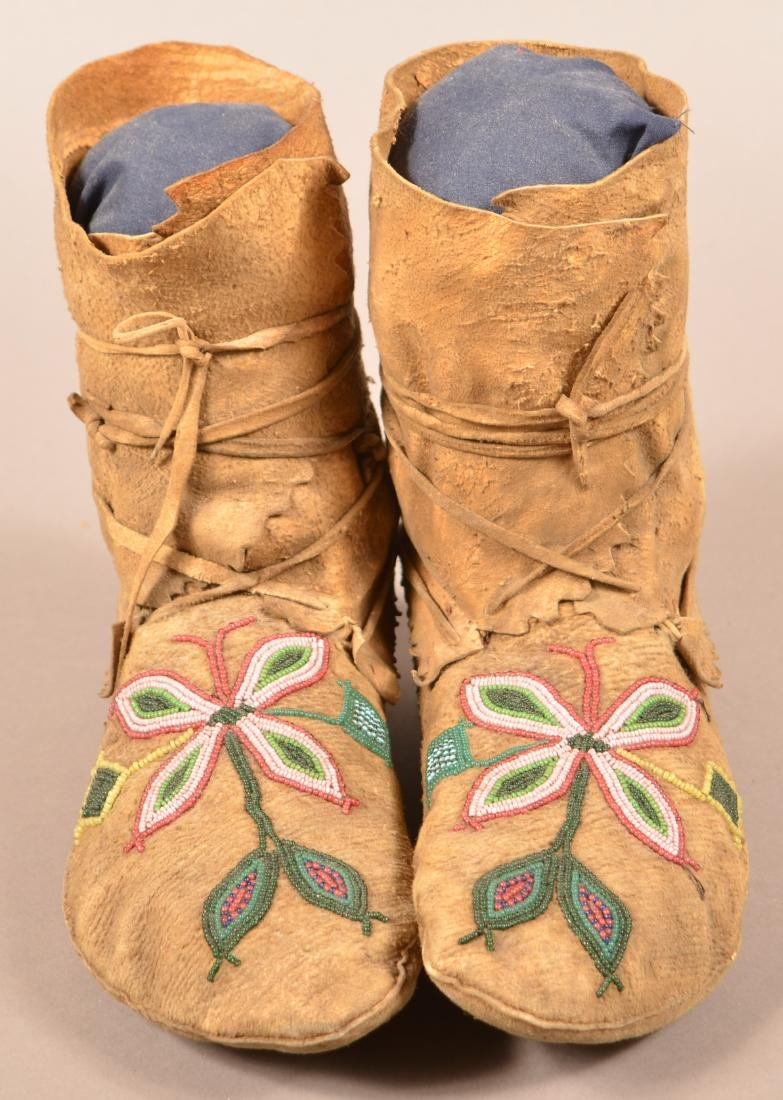 "Pair of Flathead Indian Beaded Buckskin ""High Top"""