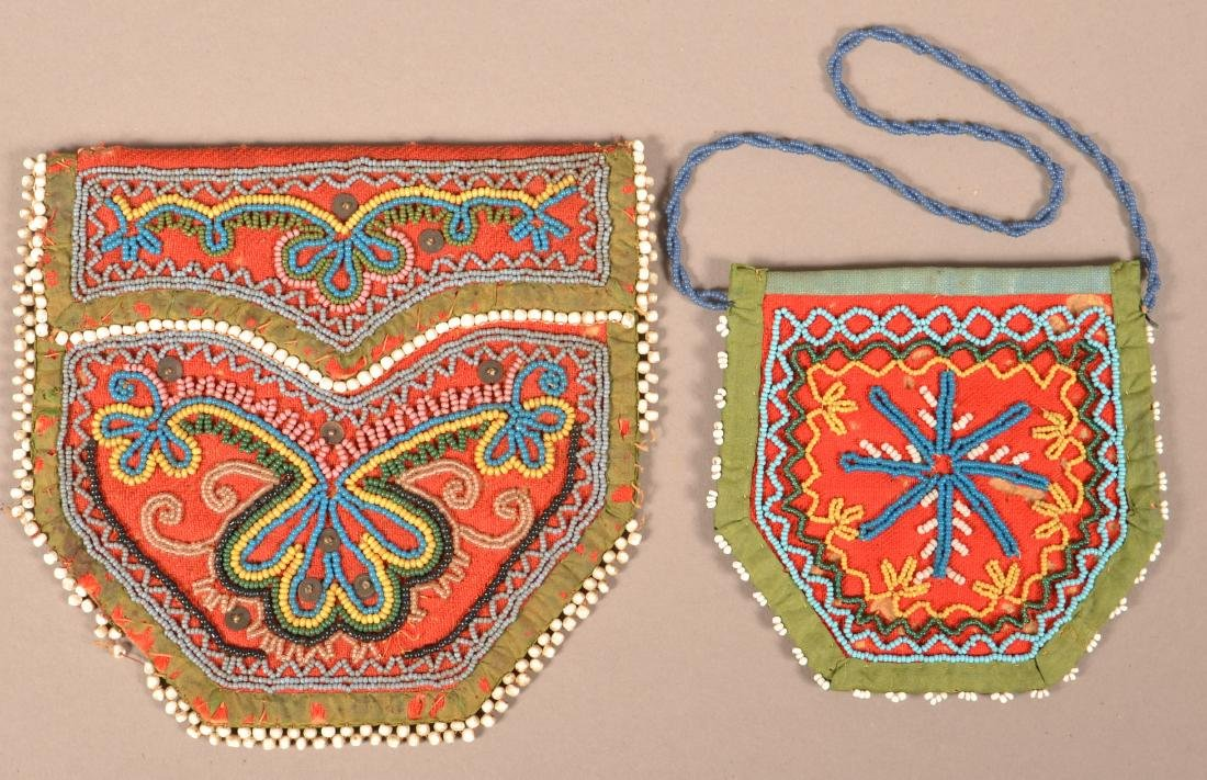 2 Good, Small Sized Iroquois Beaded Purse Mid 19th