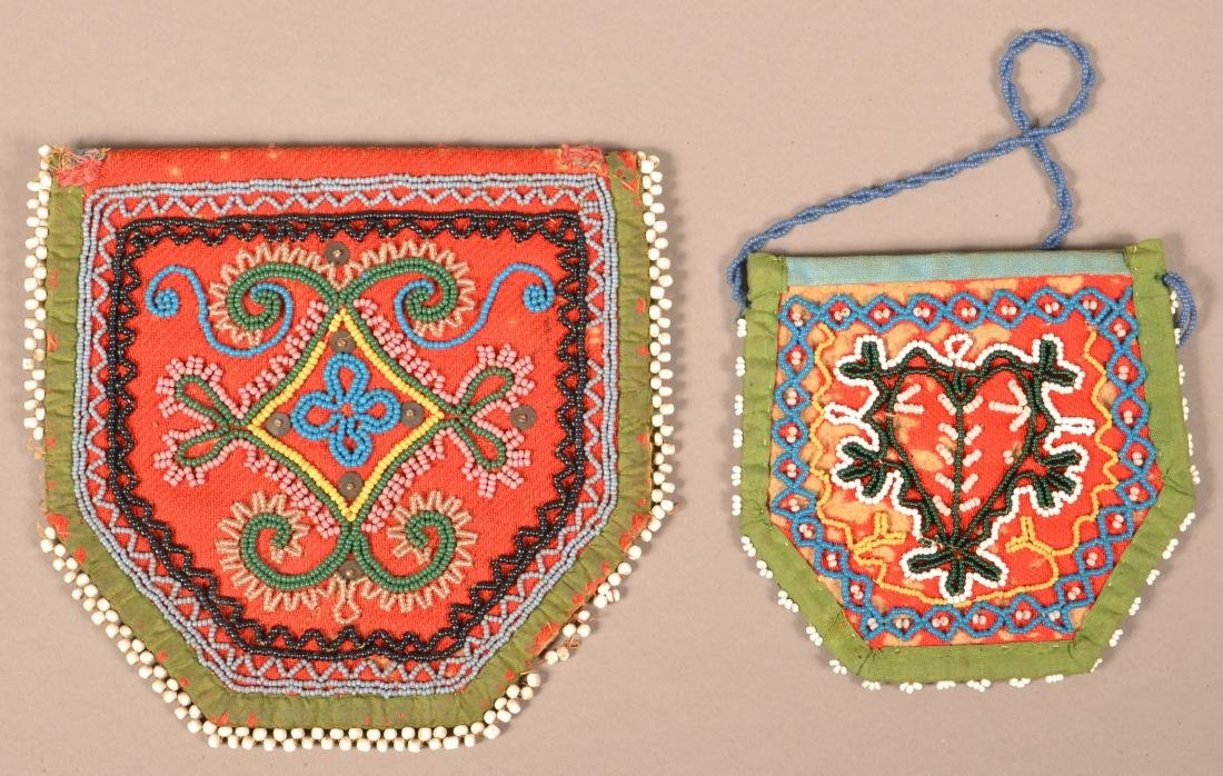 2 Good, Small Sized Iroquois Beaded Purse Mid 19th - 2