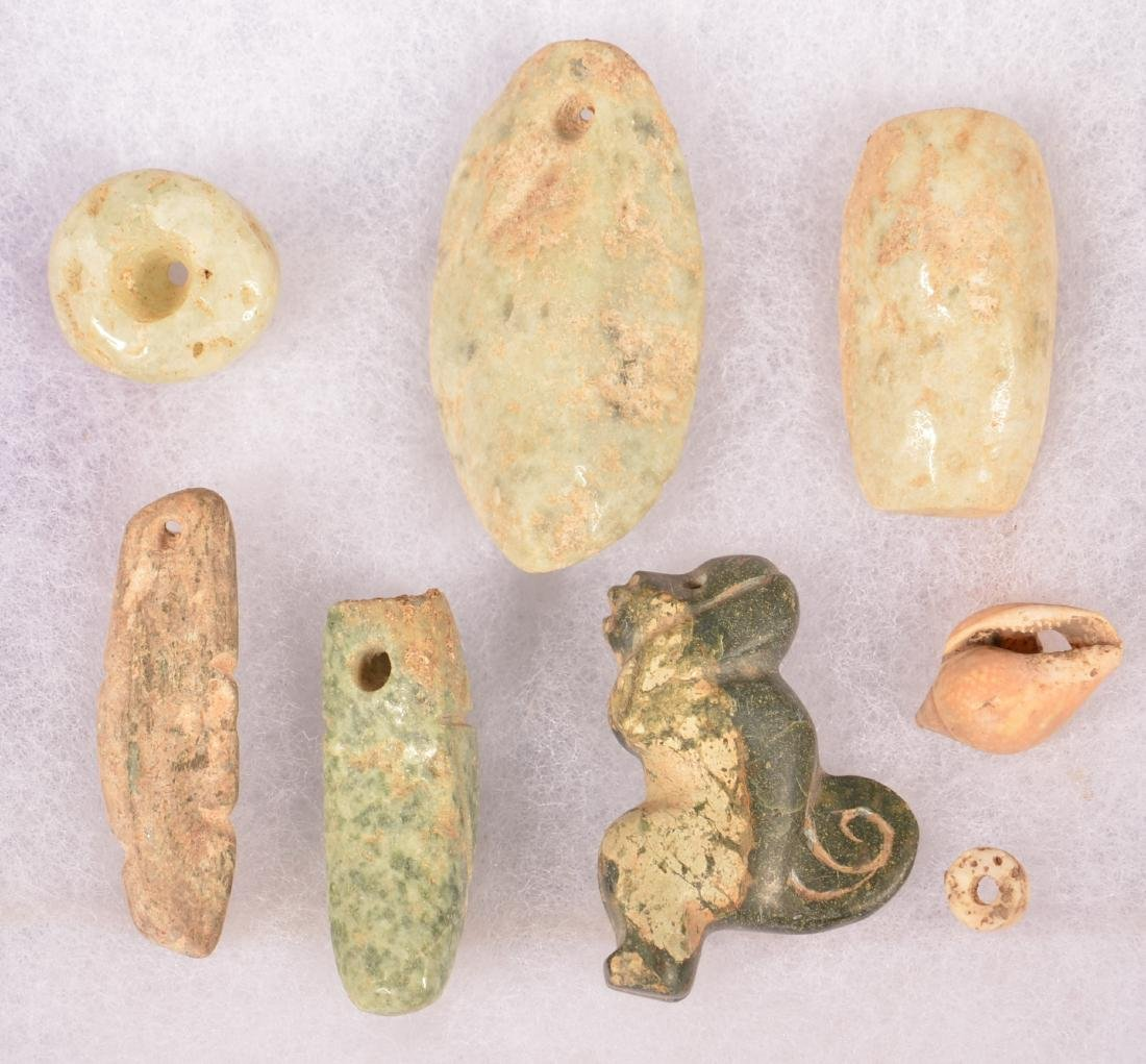 8 Meso-American Ornaments of Stone and Shell - Bead and - 2