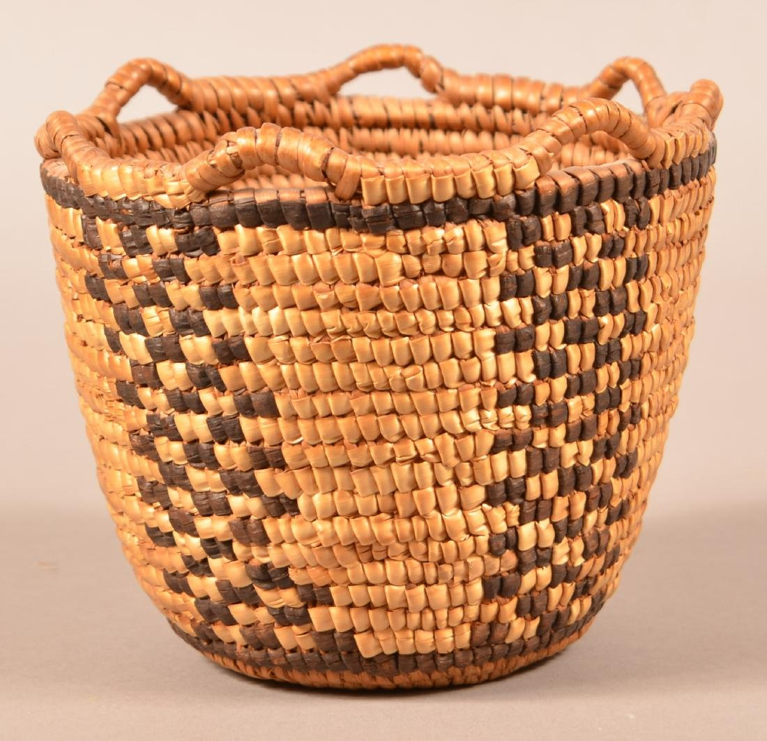 Small Sized, Looped Rim, Klickitat Indian Coiled Basket