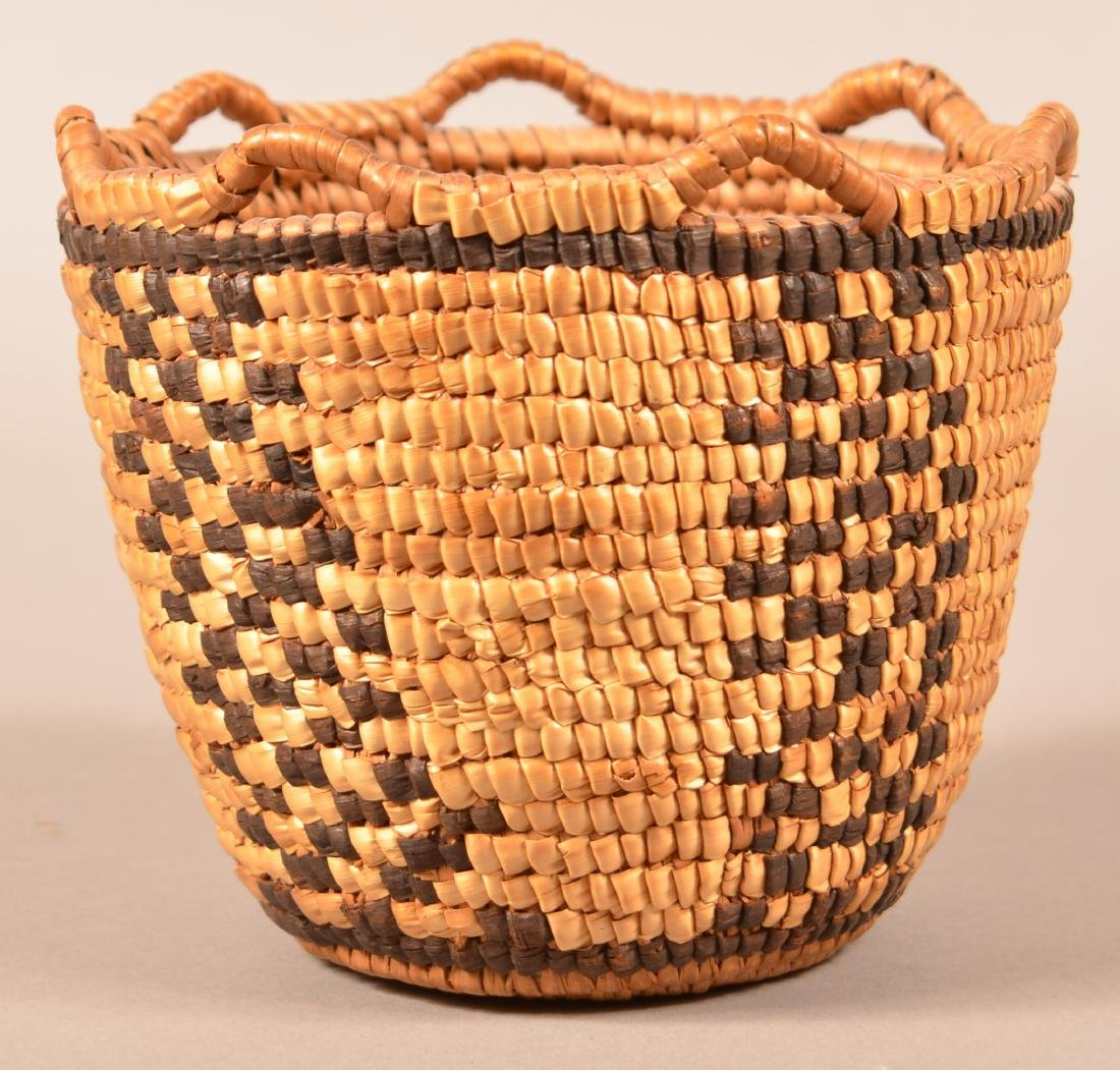 Small Sized, Looped Rim, Klickitat Indian Coiled Basket - 2