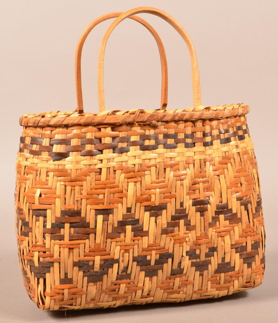 """Vintage Cherokee Twill Woven River Cane Basket 8"""" x 5"""""""