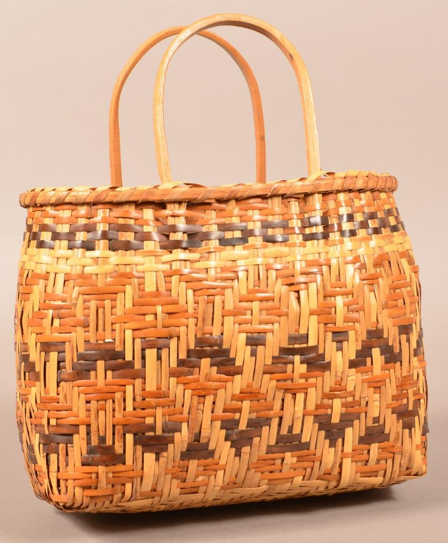 """Vintage Cherokee Twill Woven River Cane Basket 8"""" x 5"""" - 2"""