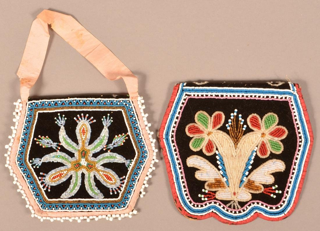 2 Mid 19th Cent. Iroquois Purses, Minor Bead Loss to