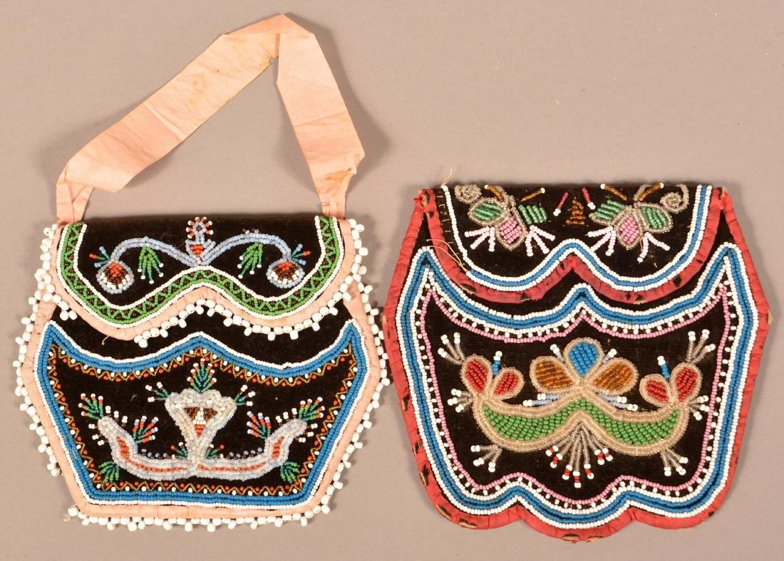 2 Mid 19th Cent. Iroquois Purses, Minor Bead Loss to - 2