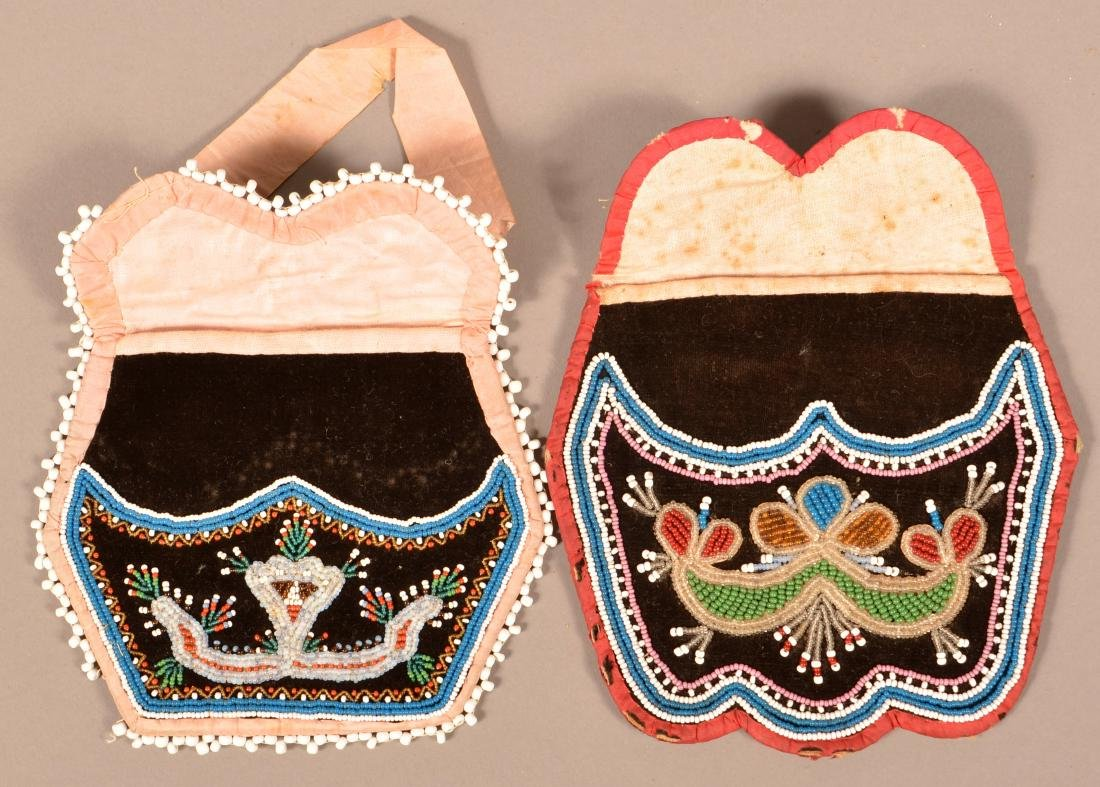 2 Mid 19th Cent. Iroquois Purses, Minor Bead Loss to - 3