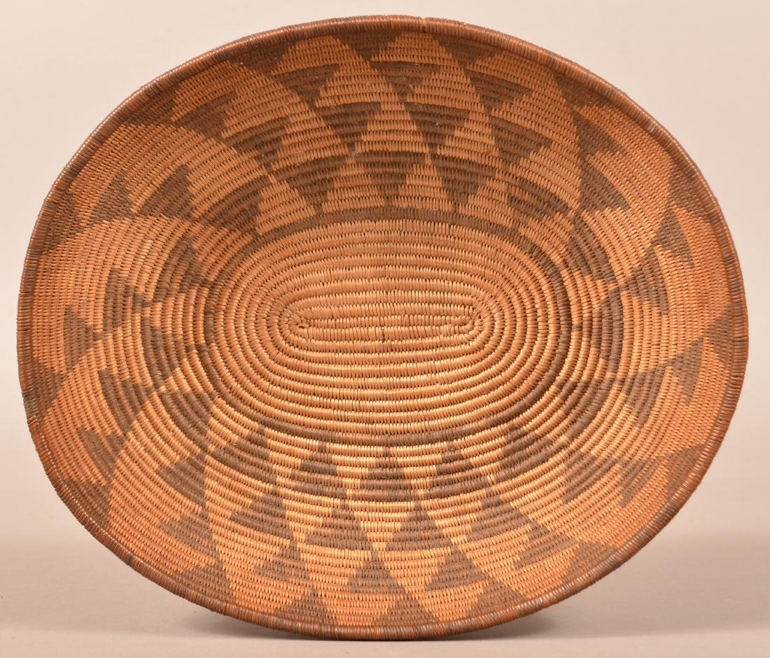 Antique Apache Basket of Oval Form w/ Stacked Triangle