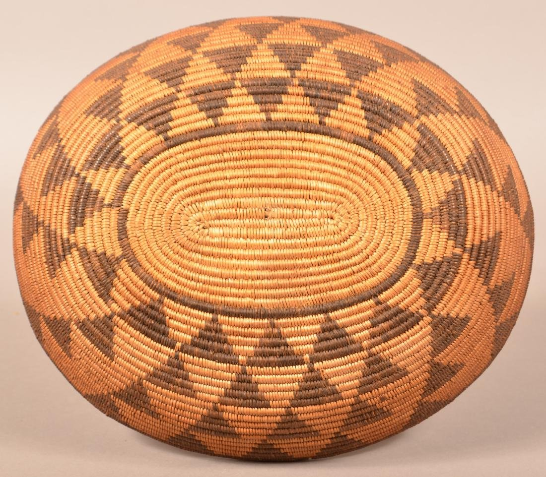 Antique Apache Basket of Oval Form w/ Stacked Triangle - 3