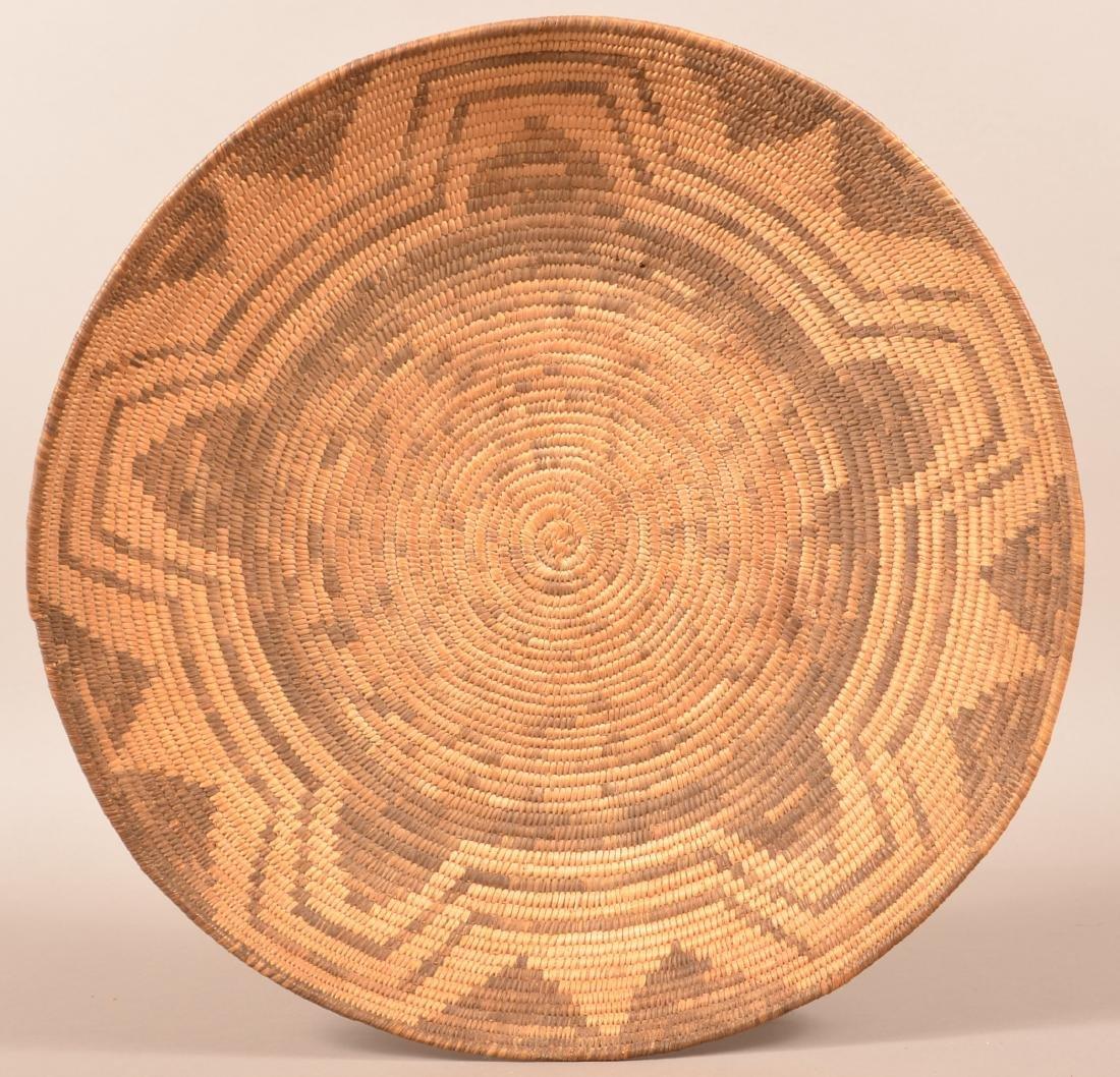 """Antique Papago Coiled Basket 18 1/2"""" Dia. w/ Circular"""