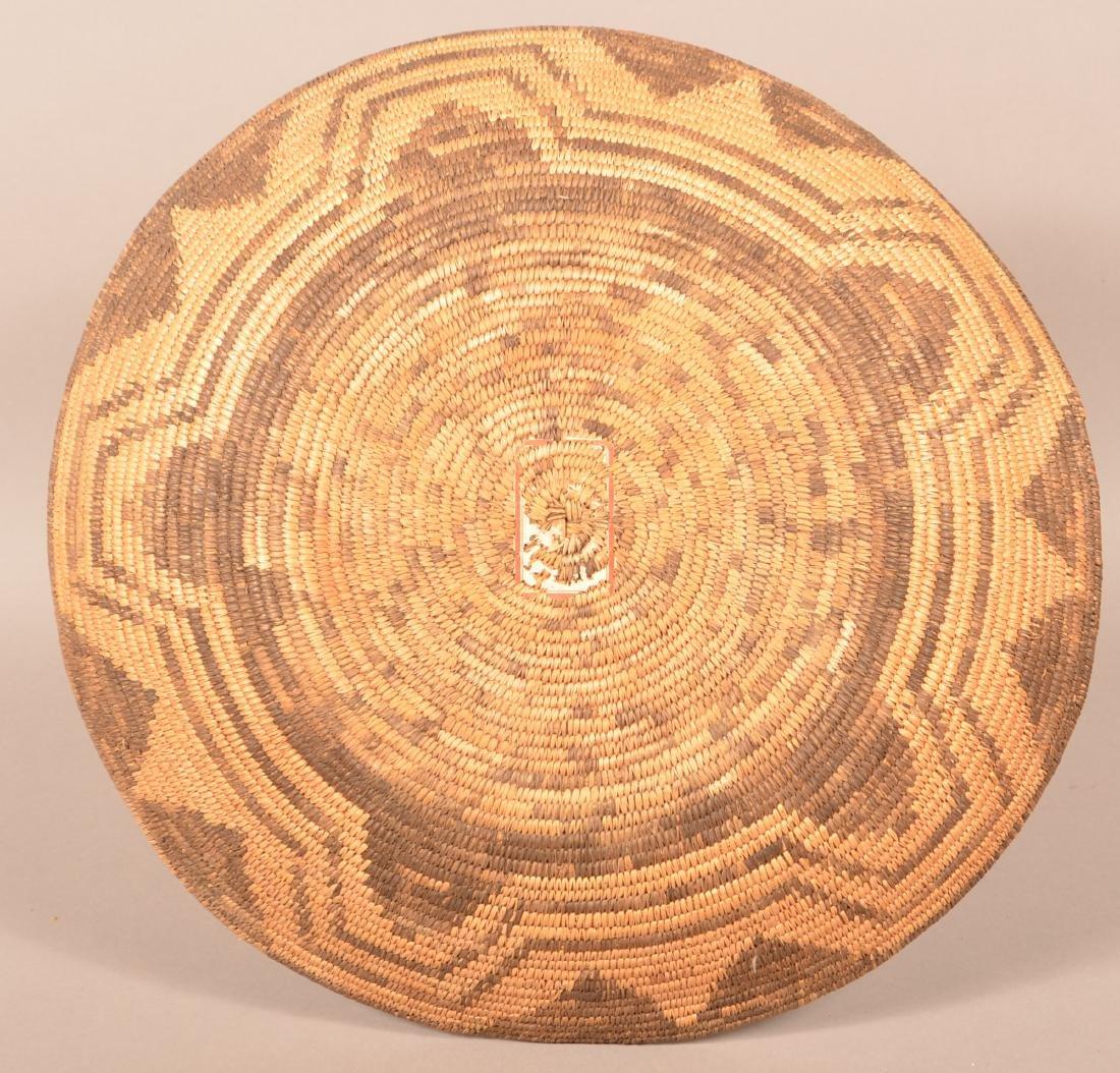 """Antique Papago Coiled Basket 18 1/2"""" Dia. w/ Circular - 2"""