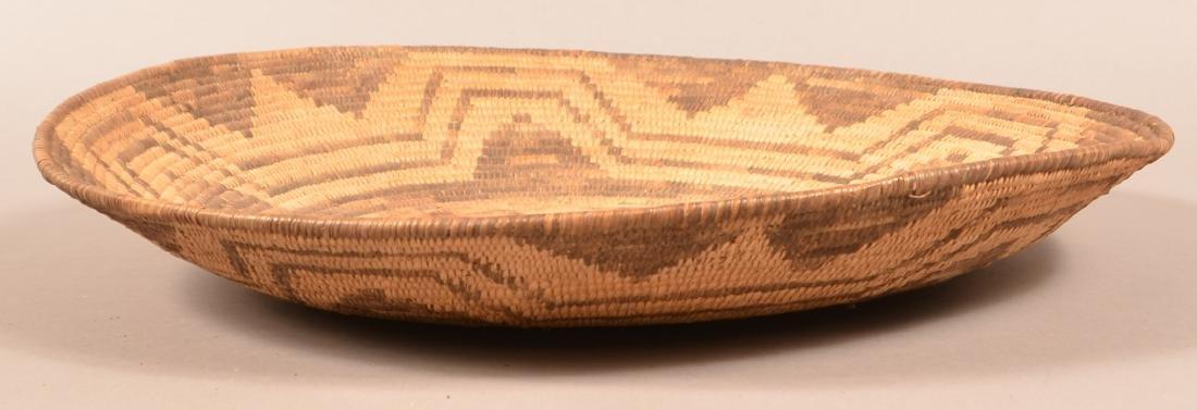 """Antique Papago Coiled Basket 18 1/2"""" Dia. w/ Circular - 3"""