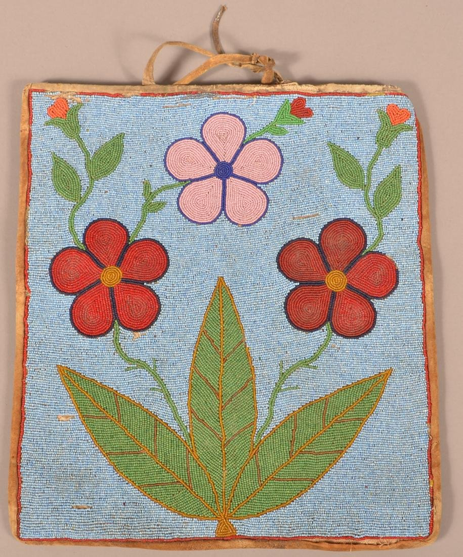 "Vintage Western Indian Beaded ""Flat Bag"" 15"" x 13"" with"
