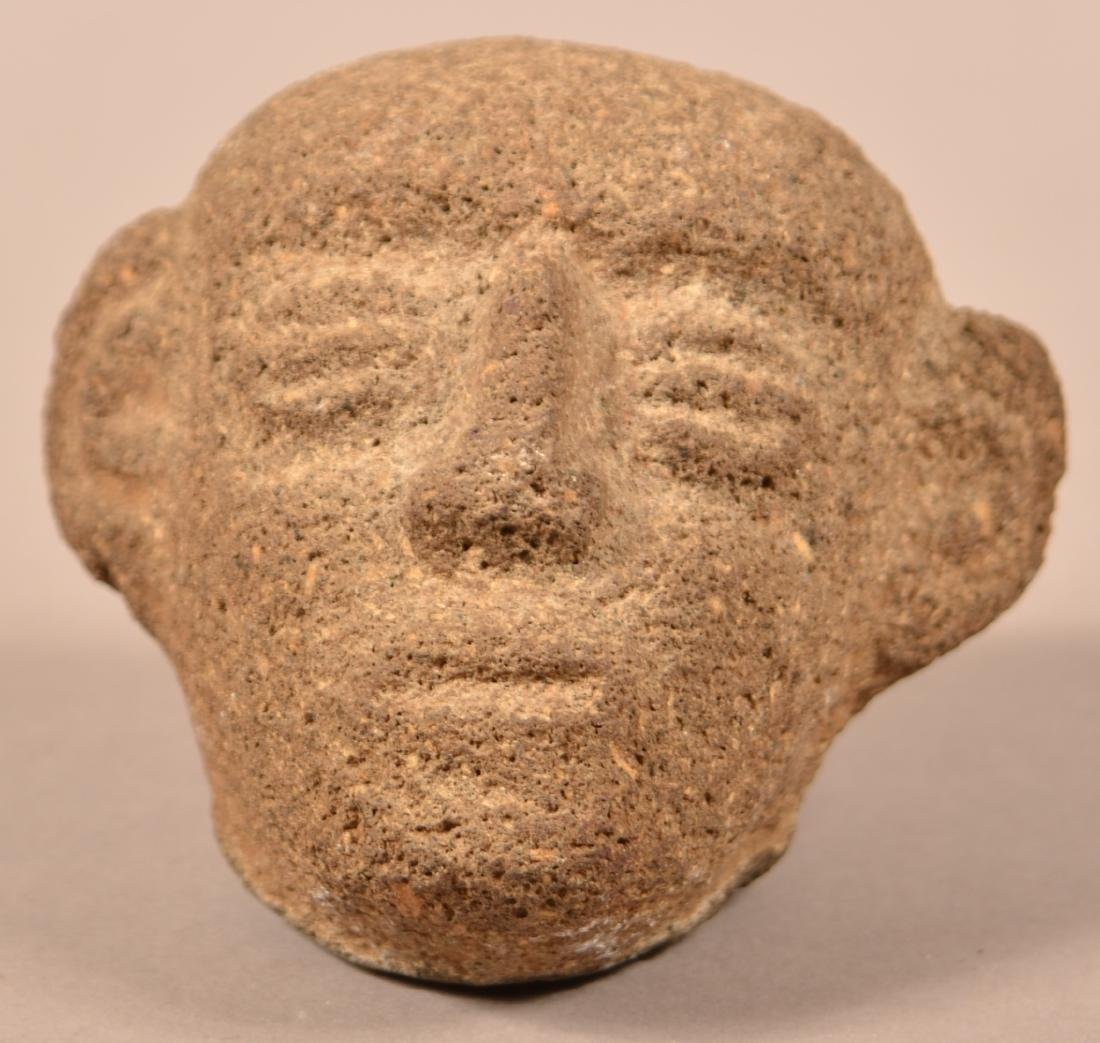 "Early Stone Carved Head from Costa Rica 3 3/4"" Tall -"