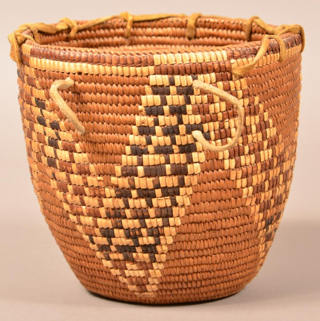 Good Antique Cowlitz Indian Coiled Basket w/ Looped