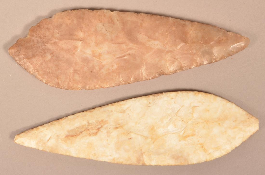 """2 Ancient Mexican Flint Blades 7 3/4"""" x 2 1/4"""" x 2 1/2"""""""