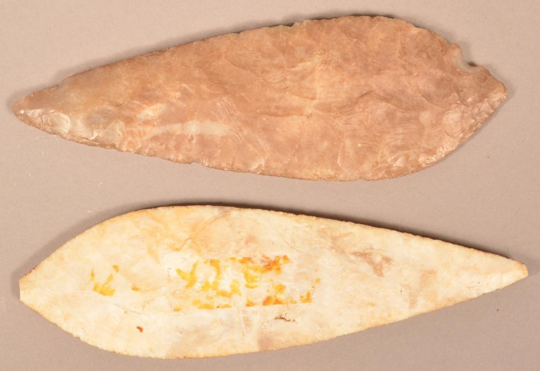 """2 Ancient Mexican Flint Blades 7 3/4"""" x 2 1/4"""" x 2 1/2"""" - 2"""