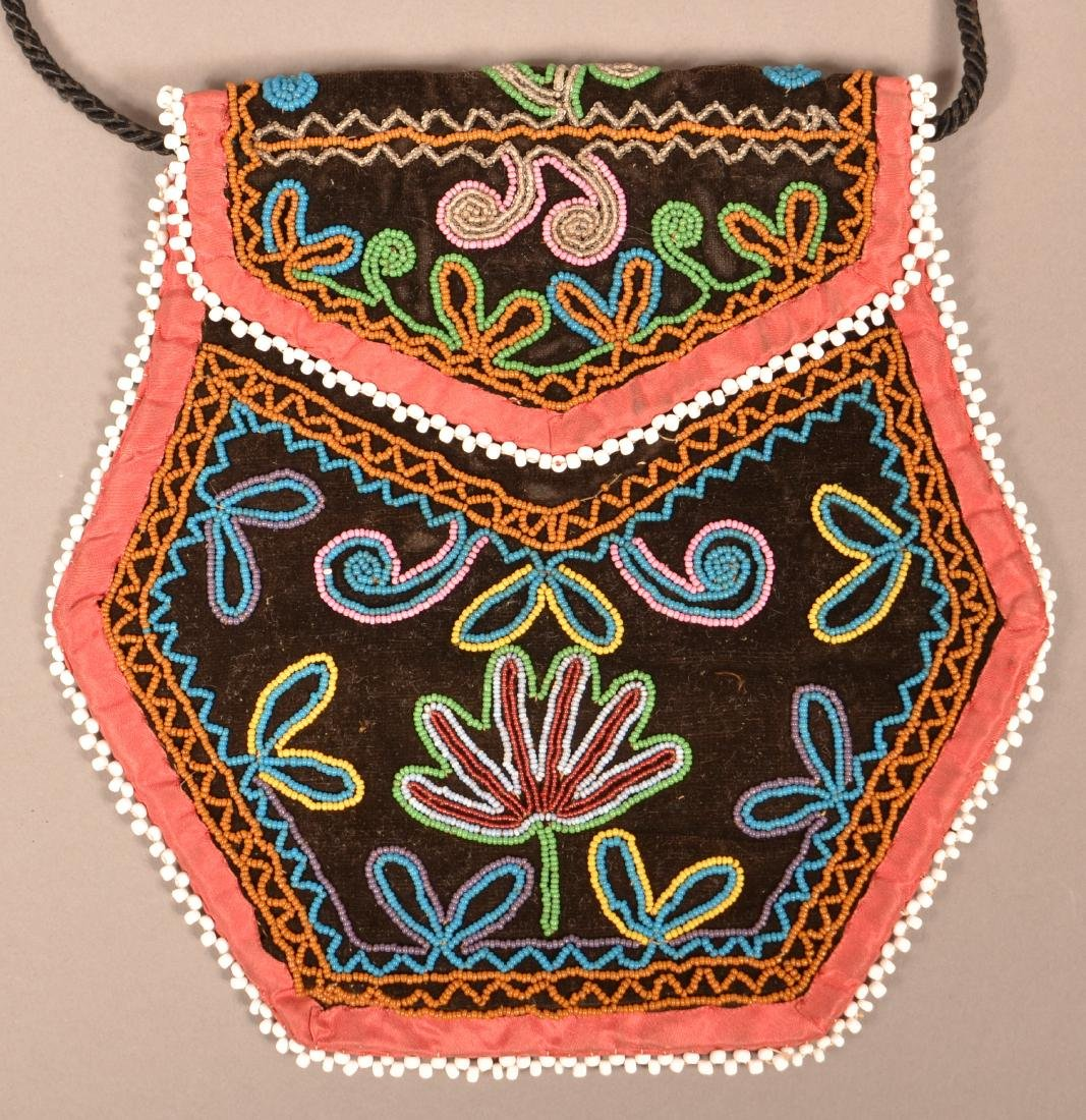 "Good Mid 19th Century Iroquois Beaded Bag 6 1/2"" x 6"