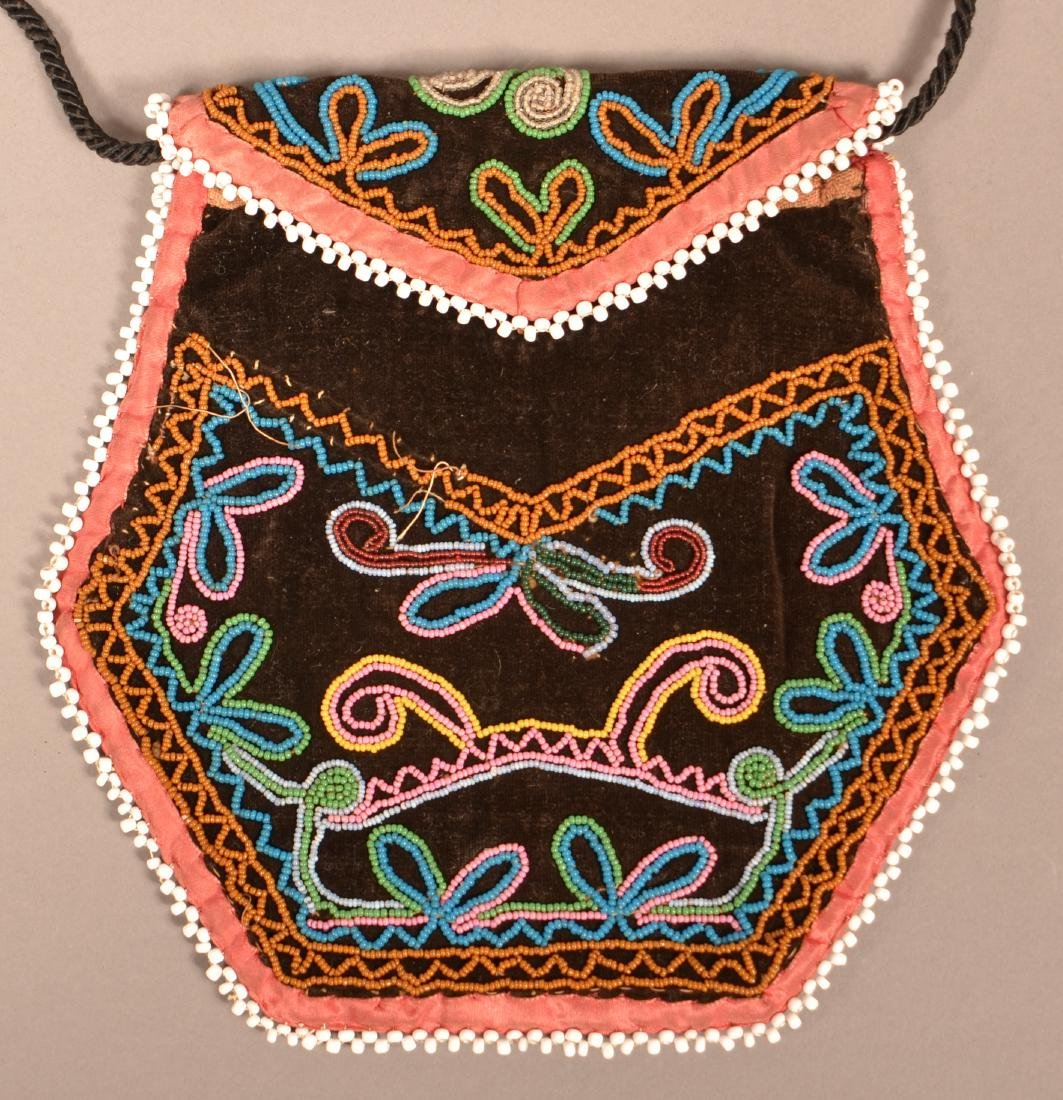 "Good Mid 19th Century Iroquois Beaded Bag 6 1/2"" x 6 - 3"