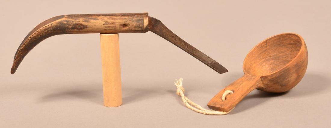 """2 N.E Indian Objects - A Wooden """"Canoe Cup"""" and a Canoe"""