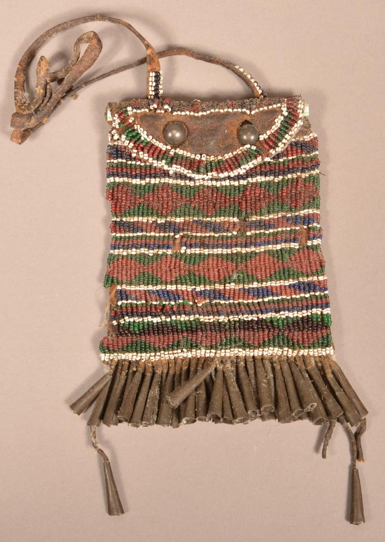 """Antique Apache Indian Beaded """"Strike A Light"""" Pouch w/"""