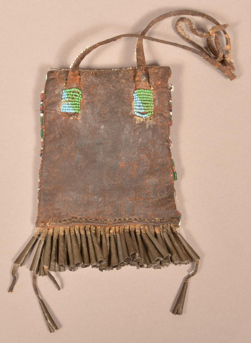 """Antique Apache Indian Beaded """"Strike A Light"""" Pouch w/ - 2"""