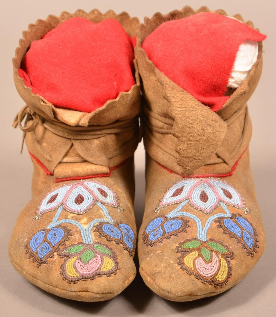 Pair of Antique Beaded Moccasins w/ Floral Design