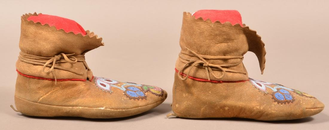Pair of Antique Beaded Moccasins w/ Floral Design - 2