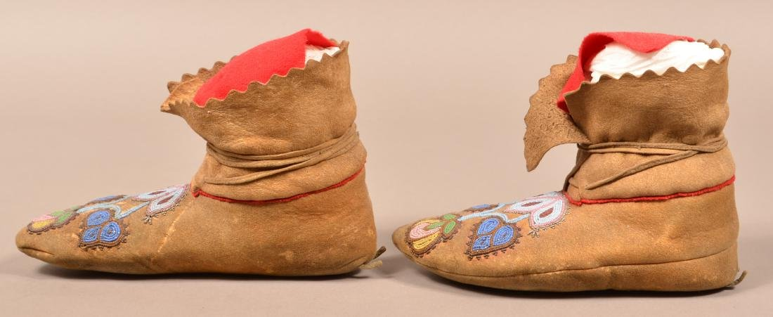 Pair of Antique Beaded Moccasins w/ Floral Design - 3