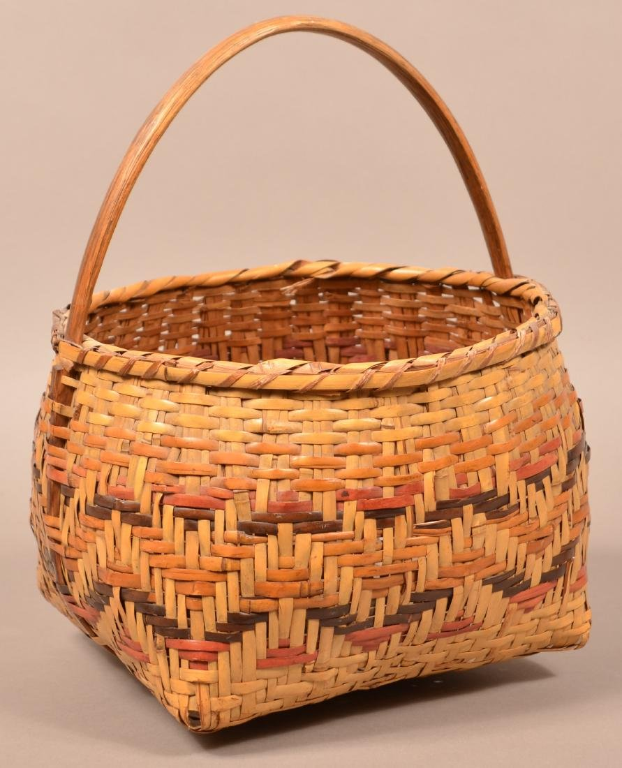 Vintage Cherokee Twill Woven, Dyed River Cane Basket w/