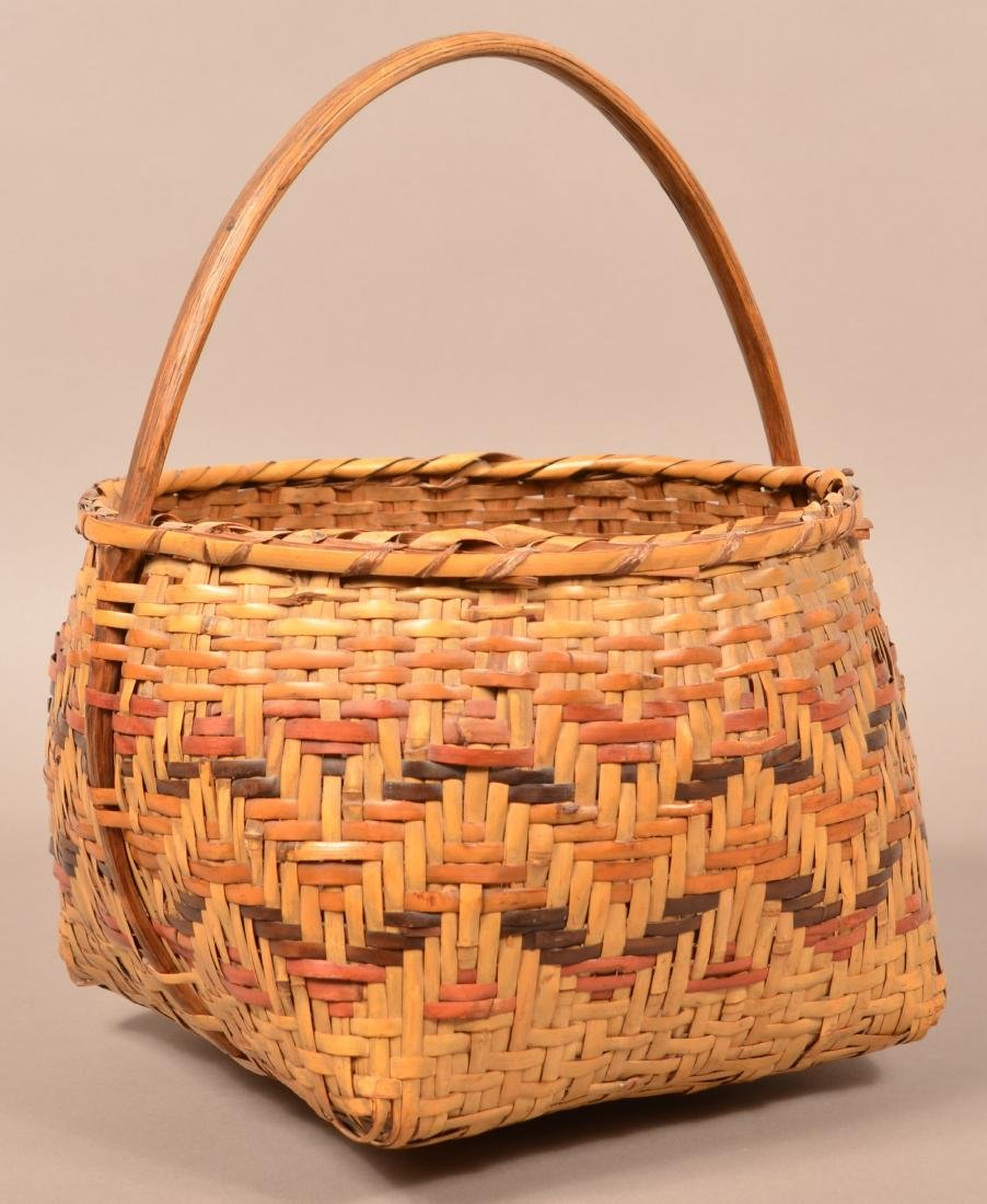 Vintage Cherokee Twill Woven, Dyed River Cane Basket w/ - 2