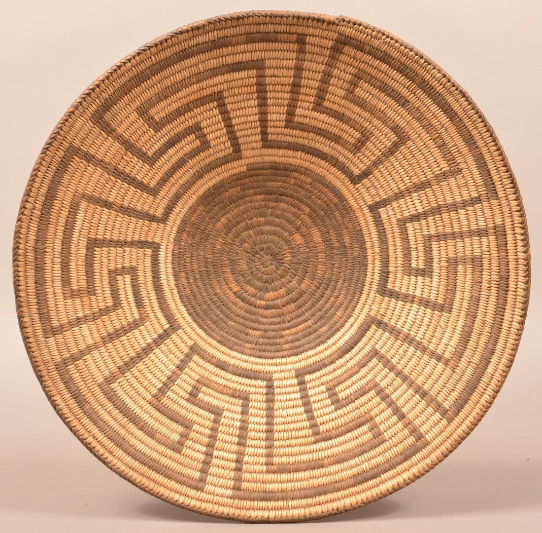 "Antique Pima Indian Coiled Basket 16 1/2"" Dia. Fine"