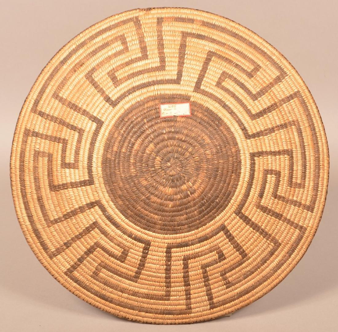 "Antique Pima Indian Coiled Basket 16 1/2"" Dia. Fine - 2"