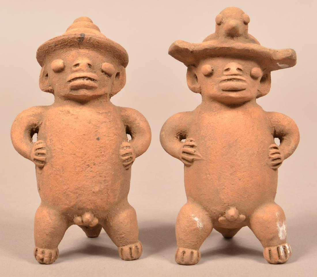 "2 Terra-Cotta, Meso-American Figurines of Men 7"" Tall"